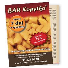 BAR Kopytko - menu